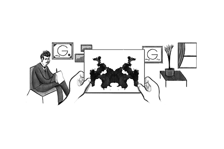 Google Doodle – Hermann Rorschach's 129th Birthday November 8, 2013