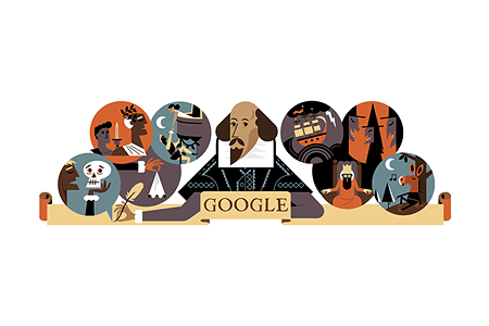 Google Doodle – Celebrating William Shakespeare April 23, 2016