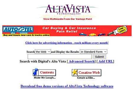 AltaVista website in 1996