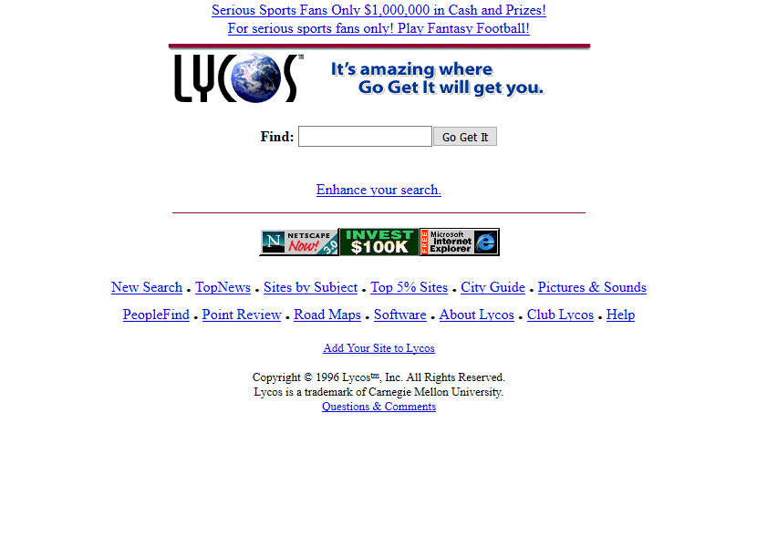 Lycos in 1996