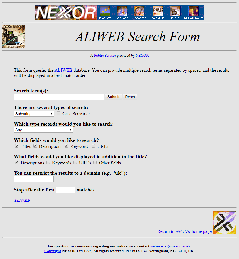Aliweb search form in 1995