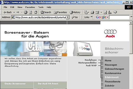 "Audi.com, the first partially ""responsive"" website in 2001"