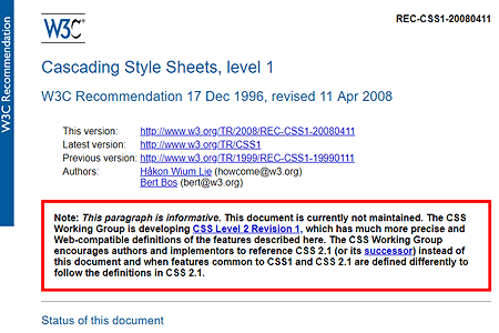 CSS 1 recommendation 1996