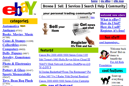 eBay website in 1999