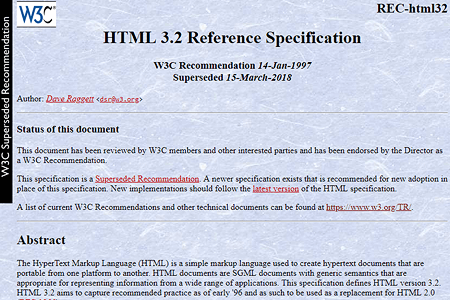 HTML 3.2 specification 1997