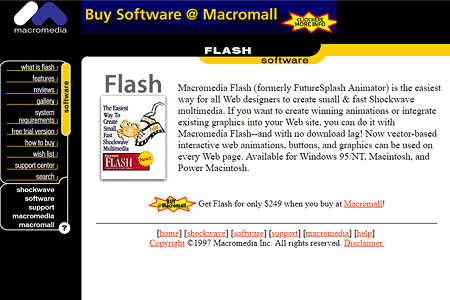 Macromedia website and Flash 1.0 in 1997