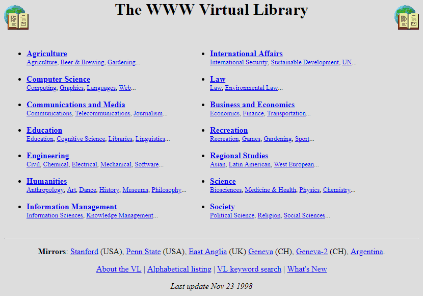 World Wide Web Virtual Library