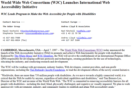 Web Accessibility Initiative (WAI) 1997