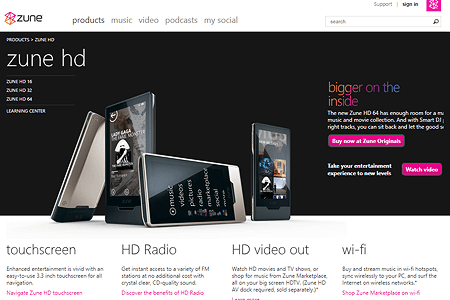 Zune Media Player and Flat Design in 2009